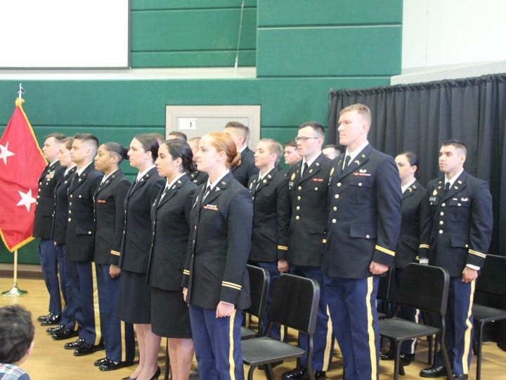 The MSU Reserve Officers' Training Corps (ROTC) Commissioning class for Spring 2019; the twenty-one students is one of the largest classes in recent history.