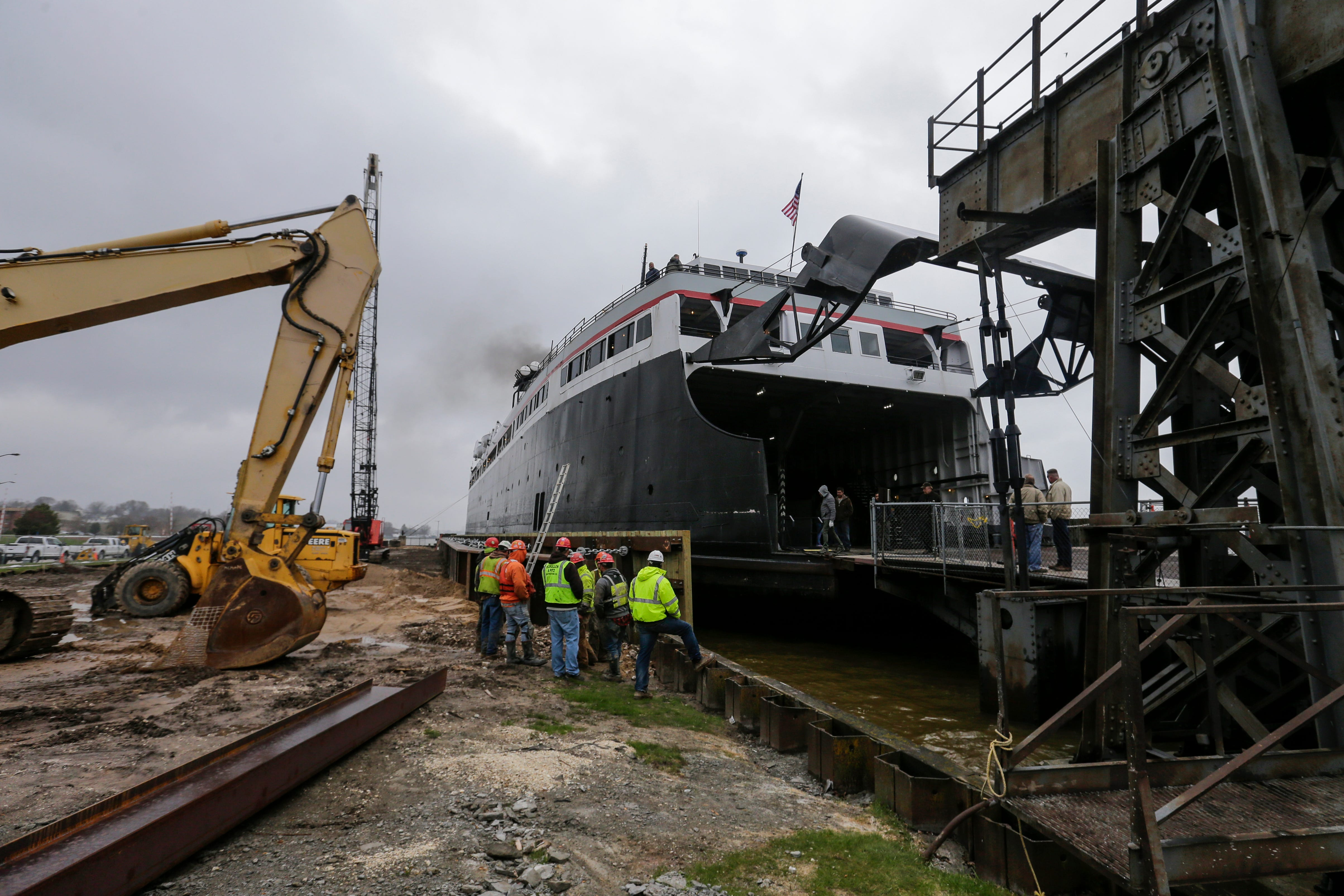 S.S. Badger car ferry tests newly constructed Manitowoc dock before first sail