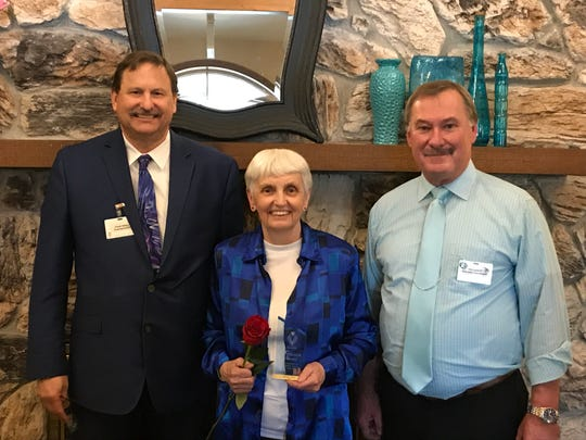 The 2019 Felician Award for Excellence in Volunteer Service at Felician Village was presented to Shirley Horn (center) at a ceremony on April 12. The award was presented by Frank Soltys, president/CEO (left), and Tim Lindloff, volunteer coordinator (right).