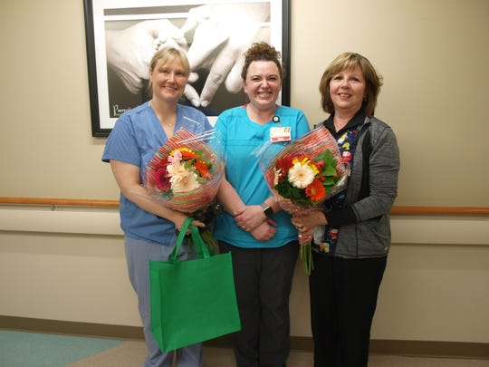 Holy Family Memorial recently presented The DAISY AwardFor Extraordinary Nurses to Sara Jetton, R.N.; Charity Romero, R.N.; and Lois Schroeder, LPN, in recognition of the care and compassion they provide every day to patients and their family members.