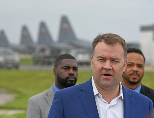 """Ohio Democratic Party Chairman David Pepper speaks at Lahm Airport outside the 179th Airlift Wing about President Donald Trump's """"Vanity project"""" and how it impacts the state of Ohio."""