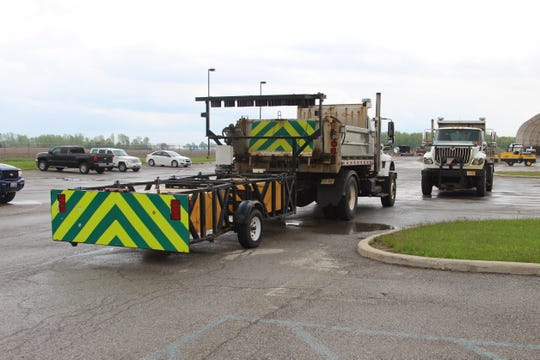 A truck attached to an impact attenuator sits in front of the Ohio Department of Transportation's Marion County garage Thursday afternoon. A semi struck a similar device and a truck after crashing into an ODOT work site on U.S. 23 South earlier that morning.