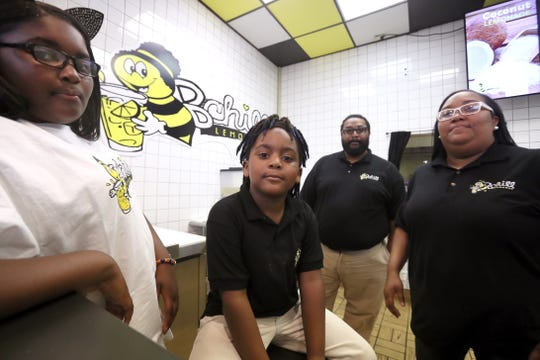 B Chill Lemonade is a family business for the Braddocks, with CEO Kinyah, 10, left, brother Demetrius II, 7, mother Valerie and father Demetrius.