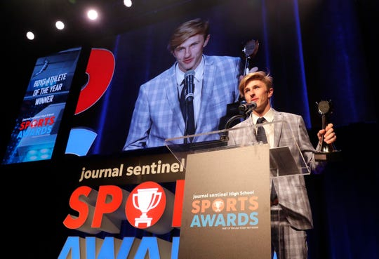 Homestead's Drew Bosley accepts the award for male athlete of the year during the third-annual Journal Sentinel High School Sports Awards in 2019.