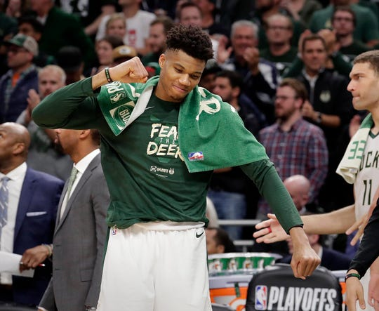 Milwaukee Bucks forward Giannis Antetokounmpo (34) reacts near the end of the game during the Milwaukee Bucks  116-91 win over the Boston Celtics to win the Eastern Conference Semifinals Wednesday, May 8, 2019 in Milwaukee, Wisconsin.  Rick Wood/Milwaukee Journal Sentinel ORG XMIT: 00098336A