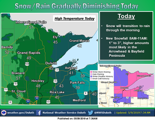 Nearly 10 inches of snow has fallen on portions of northwest Wisconsin since Wednesday.