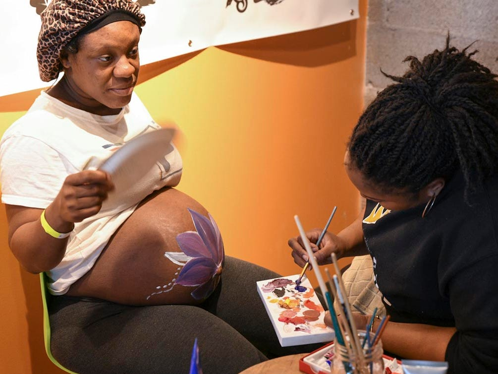 Expectant moms received pampering to help  relieve stress before labor and delivery.