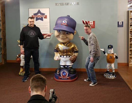 """Mike Stoklasa of Milwaukee-based RedLetterMedia (left) and """"Home Alone"""" star Macaulay Culkin were seen at the National Bobblehead Hall of Fame and Museum on Tuesday, May 7."""