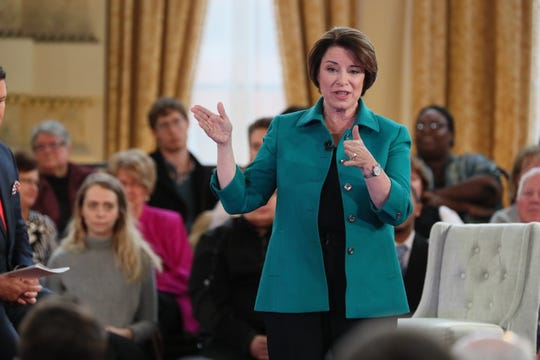 Amy Klobuchar, Minnesota's senior U.S. senator and 2020 Democratic presidential candidate, appears in Milwaukee at the Grain Exchange for a Fox News town hall. Anchors Martha MacCallum and Bret Baier asked questions, as did audience members.