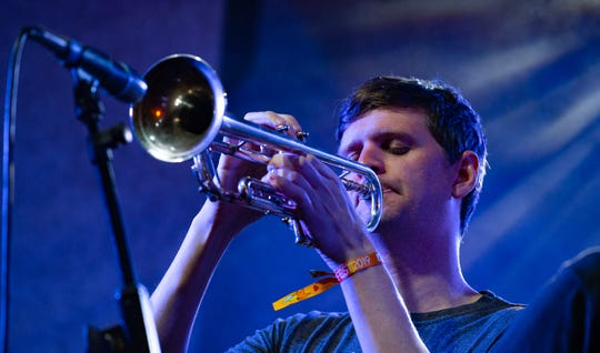 "Milwaukee native and trumpet player Mike ""Maz"" Maher performs at the Pabst Theater in his hometown May 23."