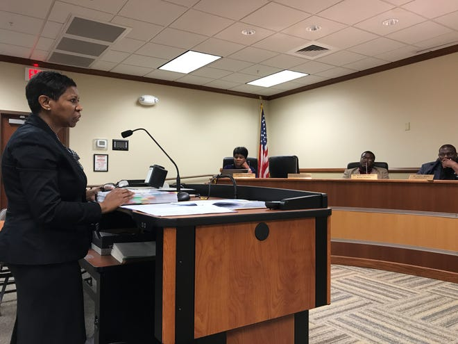 Stephanie Henderson represented J. W. Brown Laboratory Charter School at the Monroe City School Board on Wednesday night. The seven-member board approved the charter 3-1 after one member left the meeting early and two abstained.
