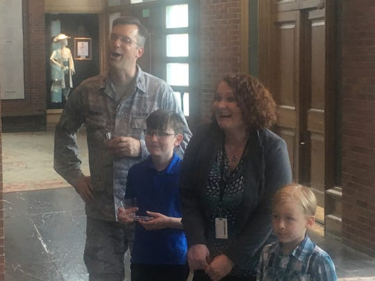 Katie Perkowski, her husband Col. Leon J. Perkowski and their two boys at Katie's farewell party Wednesday, May 8, 2019, at Alabama Shakespeare Festival.