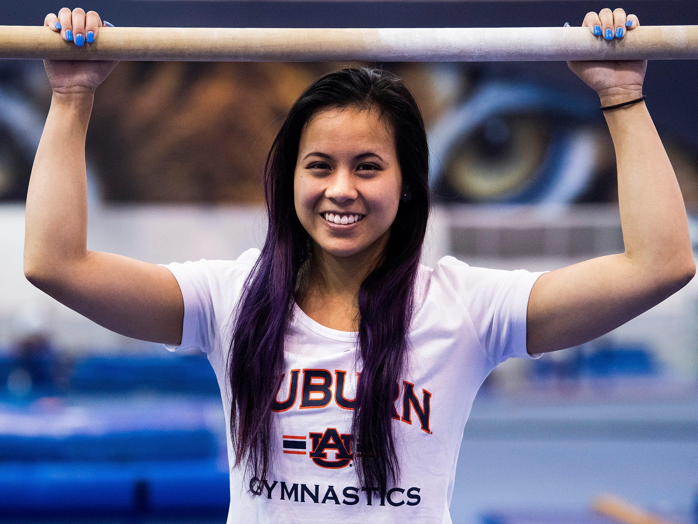 Auburn university gymnast Sam Cerio is seen in the women's gymnastics practice facility on the AU campus in Auburn, Ala., on Thursday May 9, 2019.