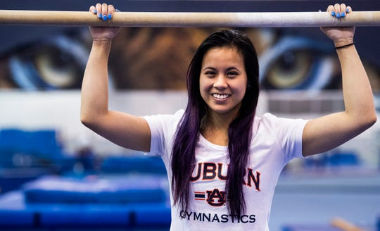 Auburn university gymnast Sam Cerio is seen in the women's gymnastics practice facility on the AU campus in Auburn, Ala., on Thursday May 9, 2019.