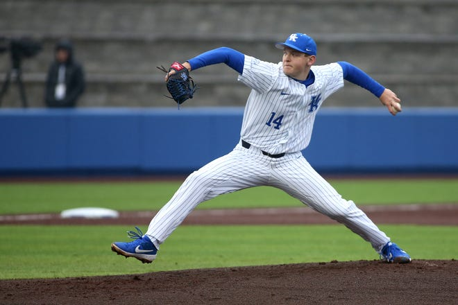 Former Wapahani star Zack Thompson pitches for Kentucky during the 2019 season.
