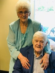 Kay and Bob Butler pose for a picture together at their 65th wedding anniversary party on Sunday, May 5.