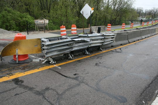 A photo provided by police show just how close the barricade was to the bridge lane.