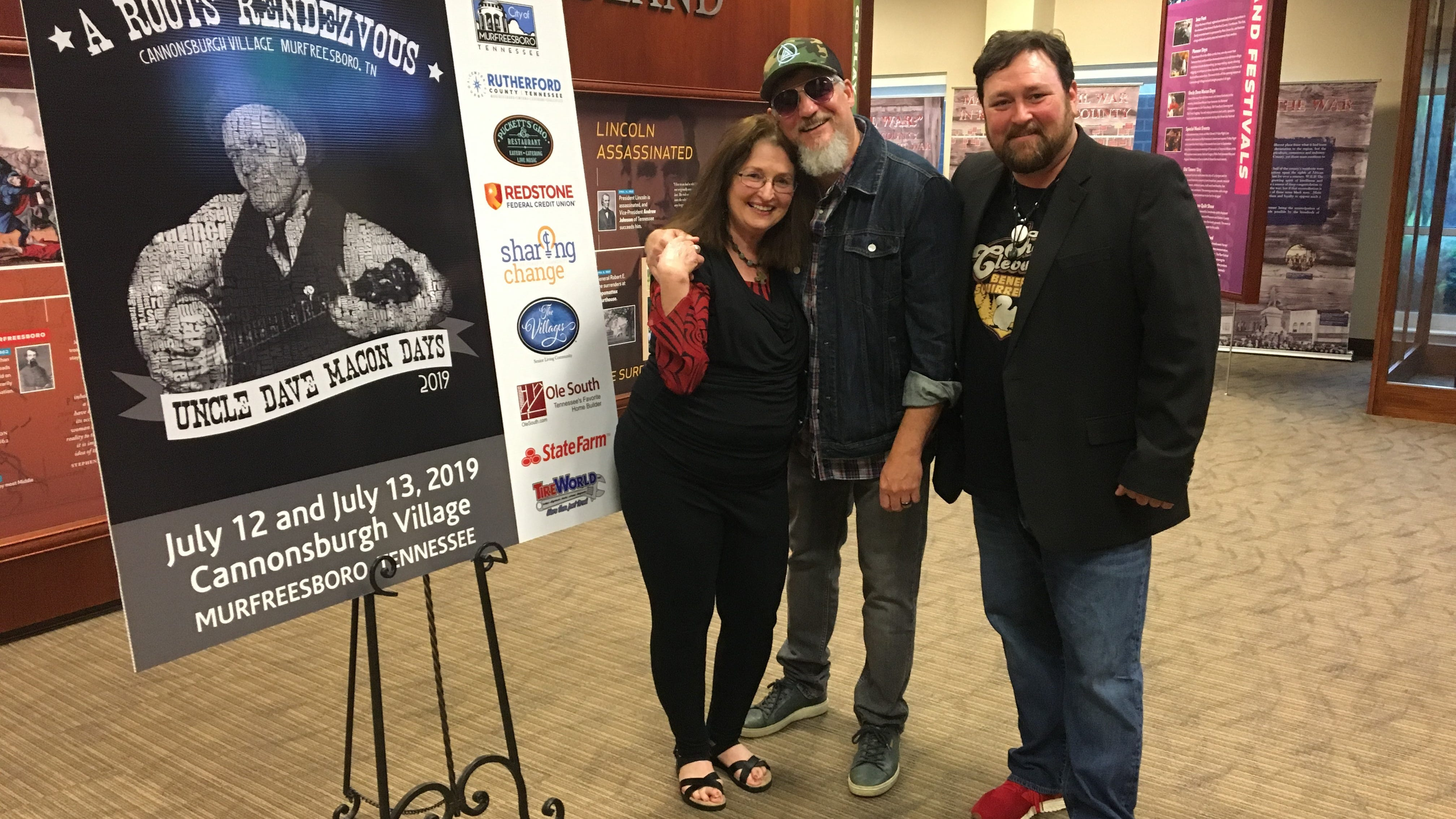 Uncle Dave Macon Days president Gloria Christy, left, and festival director Ben Wilson, right, stand with Paul Harris of The Cleverlys, a featured act at this year's event set for July 12-13 in Murfreesboro.