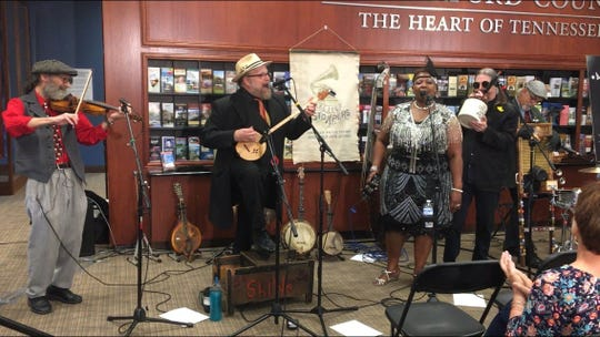 The Jake Leg Stompers perform at the press conference May 9 to kick off The Roots Rendezvous: Uncle Dave Macon Days festival, set for July 12-13 in Murfreesboro. The band will perform at the two-day old-time music festival.