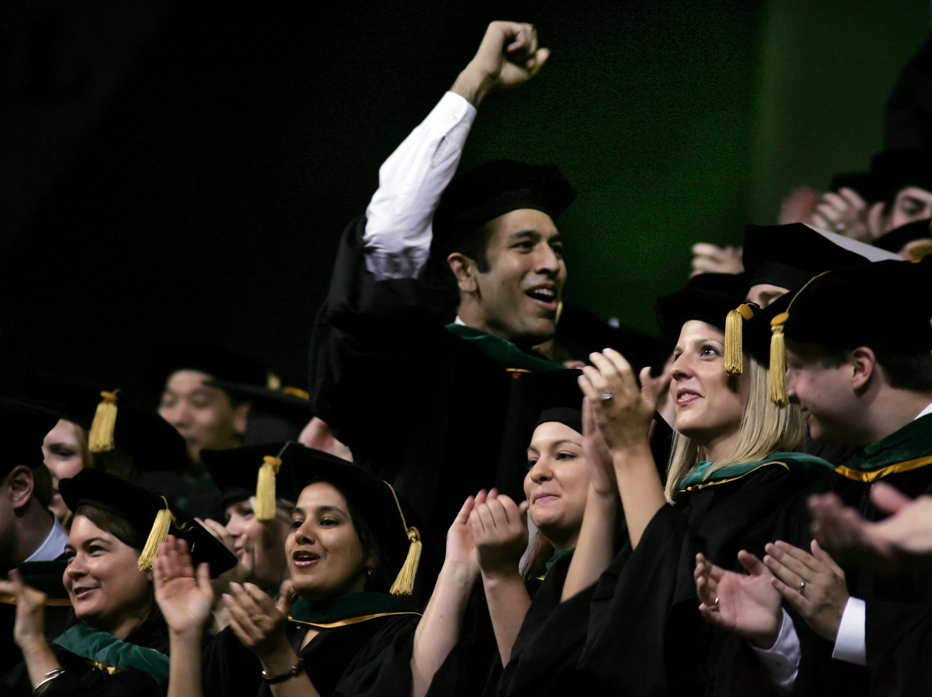 Medical school students celebrate as their degrees are conferred during Vanderbilt Commencement ceremonies  Friday, May 8, 2009, in Nashville.
