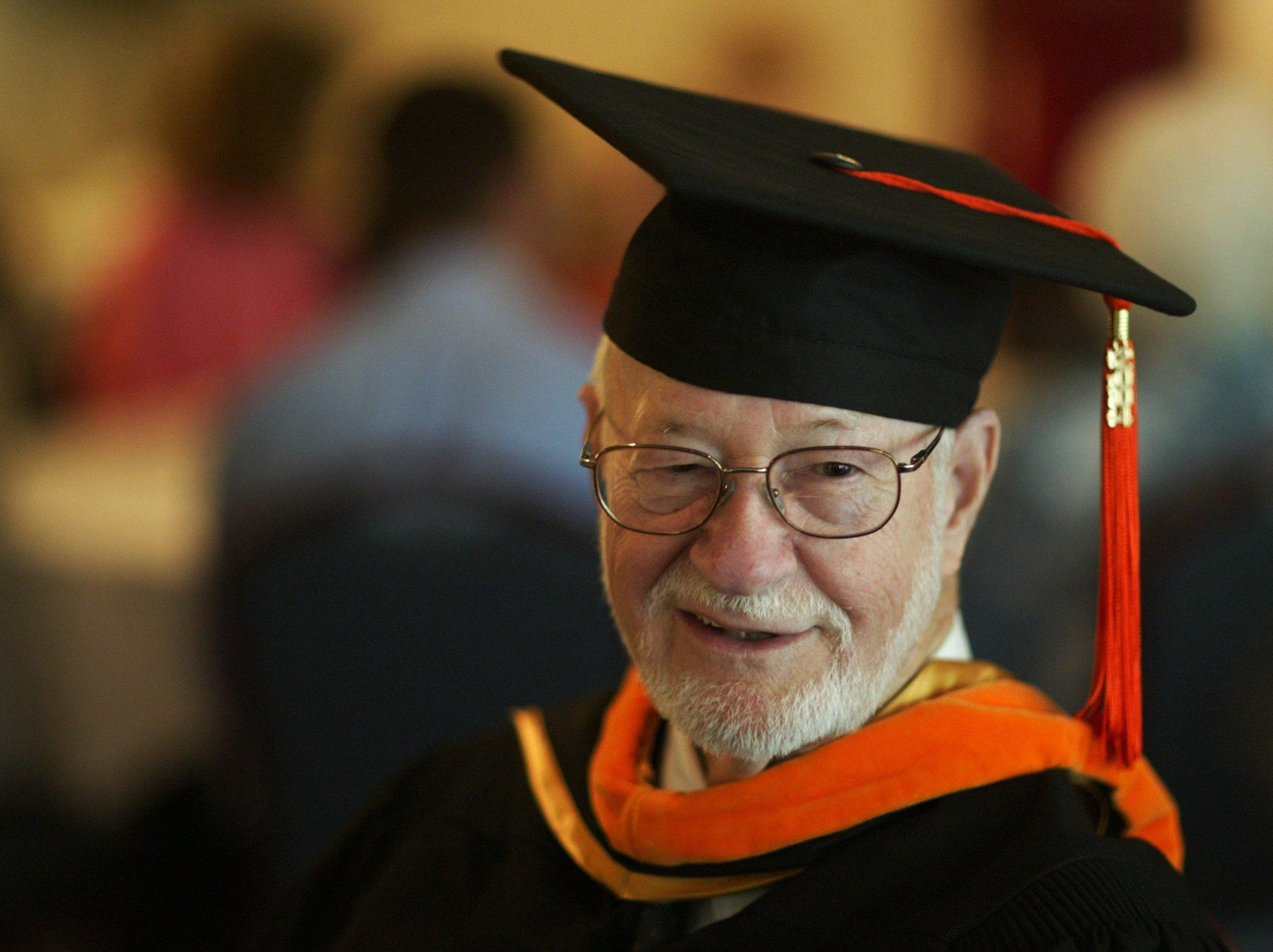 It took 55 years, but a happy William Morrison, 80, received his Masters Degree at the Vanderbilt graduation on Friday, May 14, 2004.