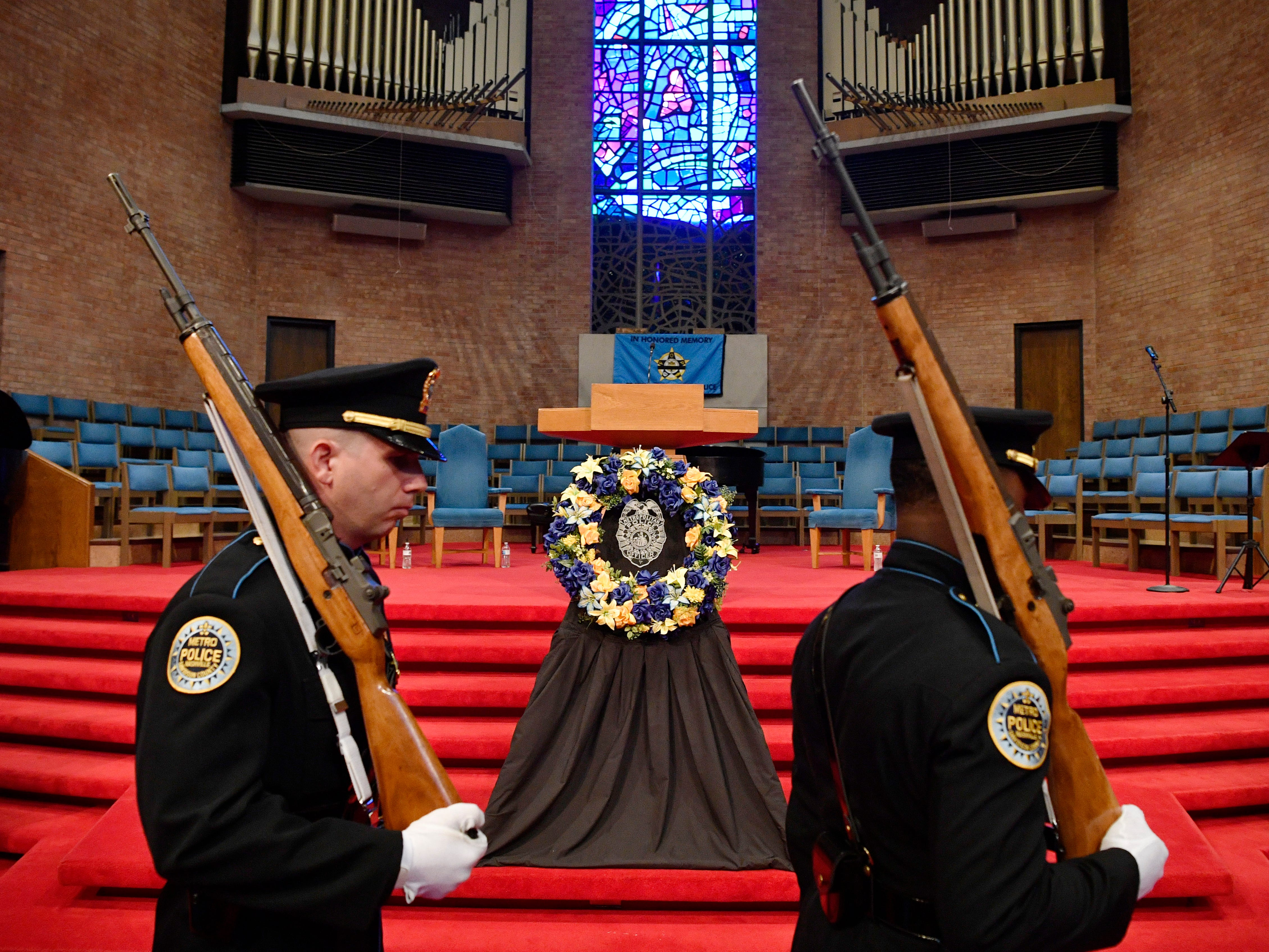 Honor Guard open the service at the annual memorial service honoring Nashville's police officers who have died in service to the city Thursday, May 9, 2019, in Nashville, Tenn.