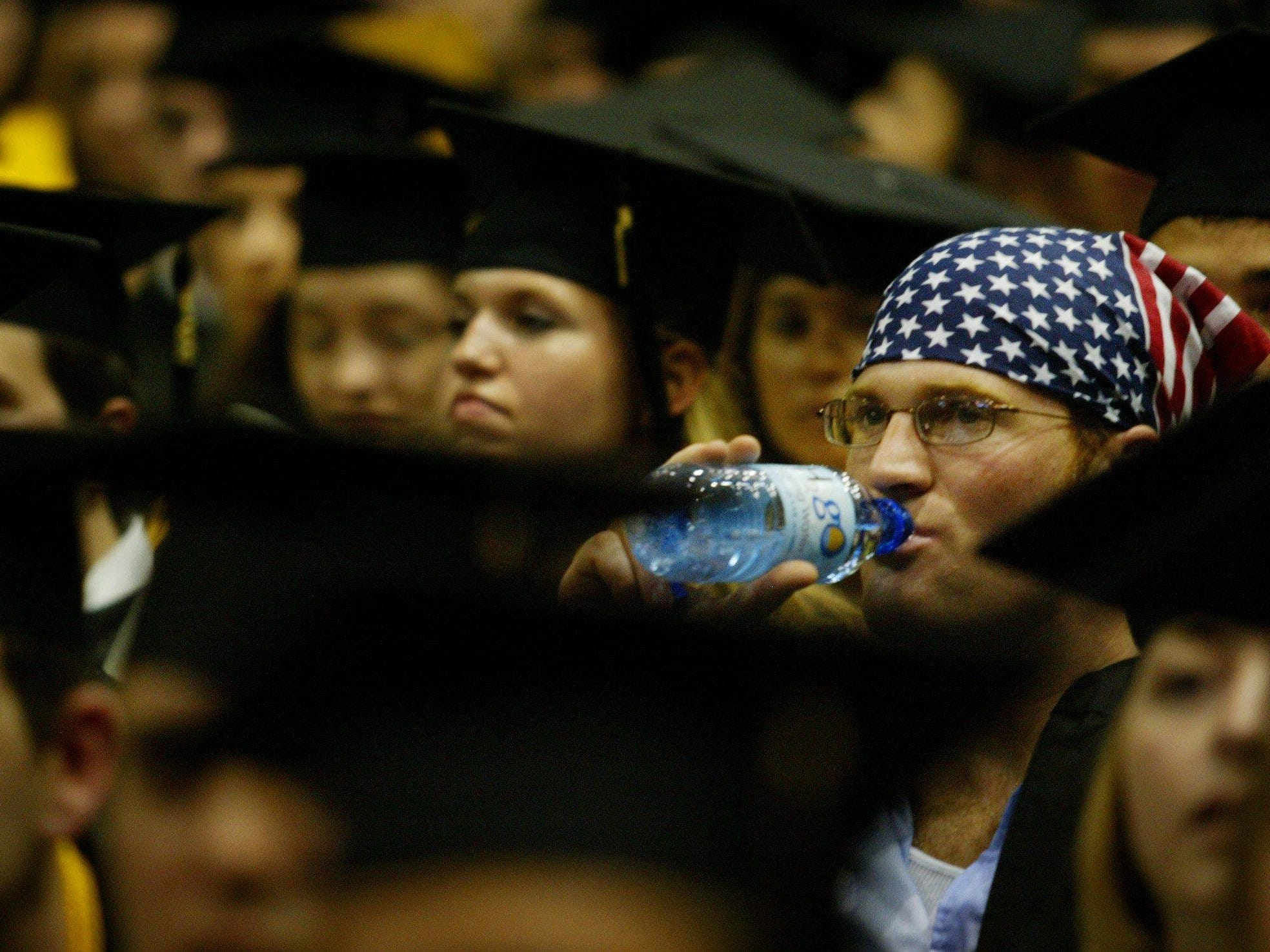 One of the few students not wearing his mortar board, English major Dean Damuth showed his patriotism during Vanderbilt's 2003 commencement ceremony Friday morning at Memorial Gym.