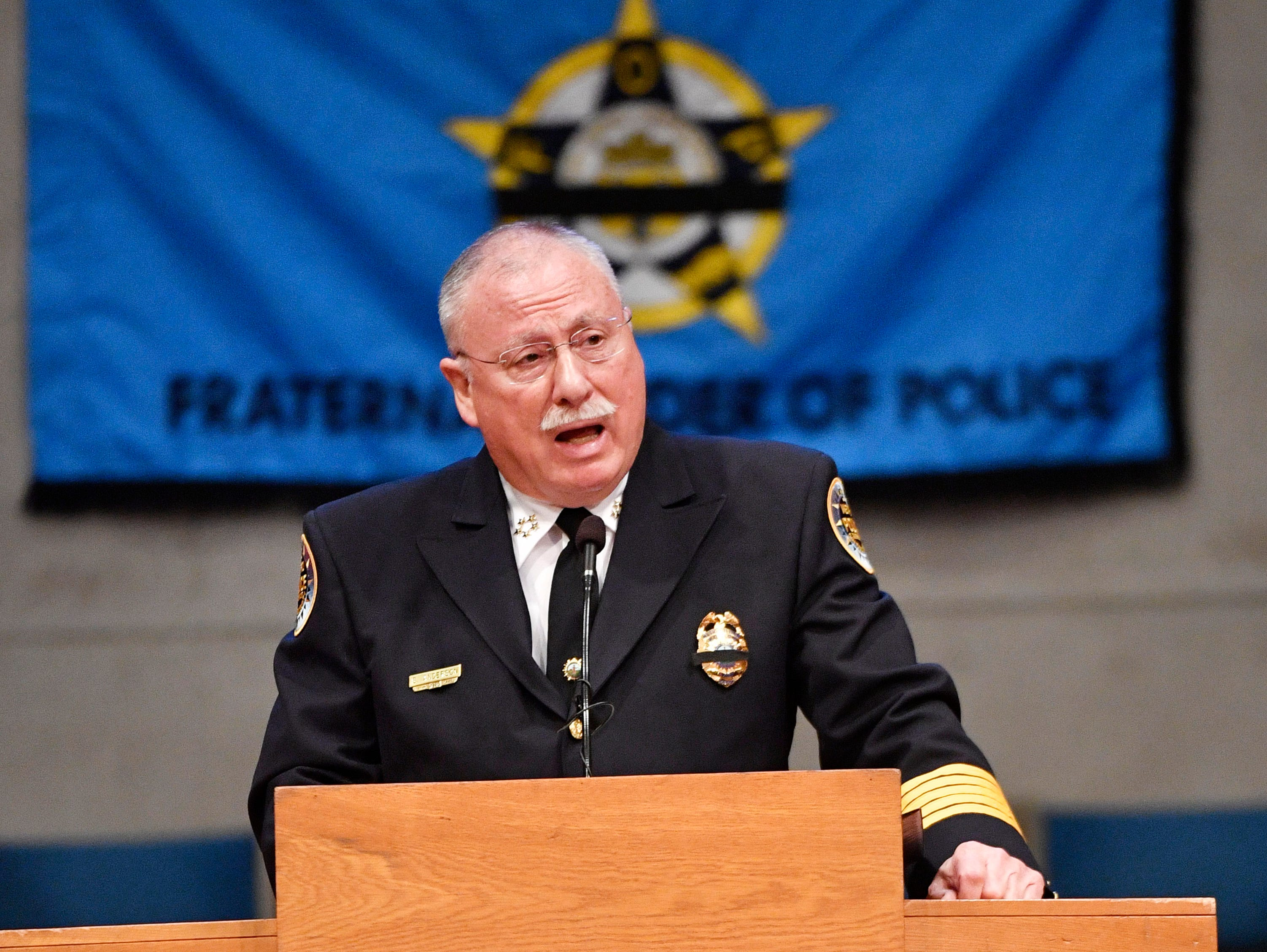 Chief  Steve Anderson was the keynote speaker at the annual memorial service honoring Nashville's police officers who have died in service to the city Thursday, May 9, 2019, in Nashville, Tenn.