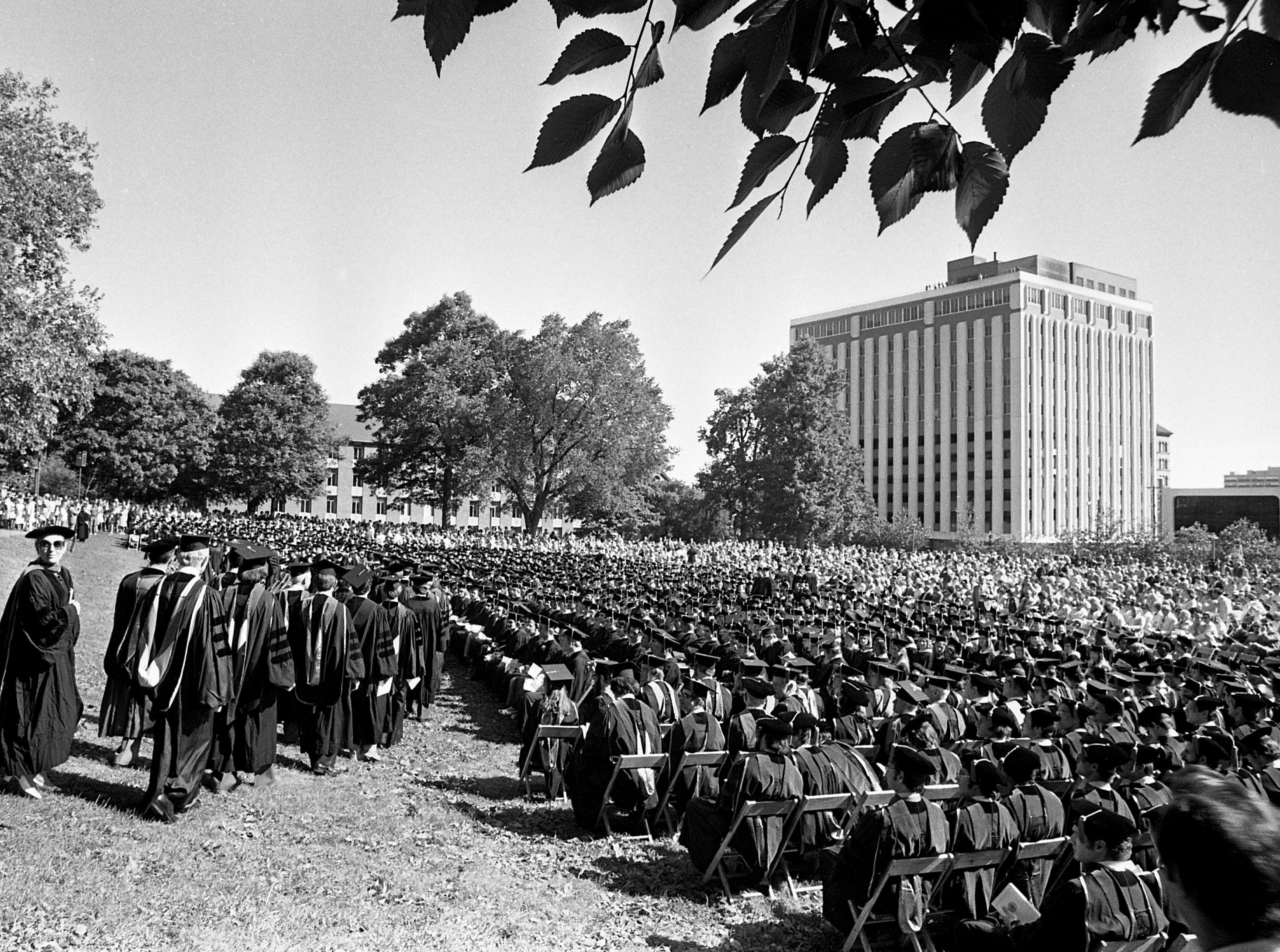 Some of the 1,722 graduating students wait for the start of Vanderbilt University's 102nd spring commencement exercises on campus May 11, 1977.