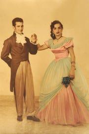 Portrait of Blanca Rosa Cardona and Vicente Cardona dressed for a carnival event in Cuba.