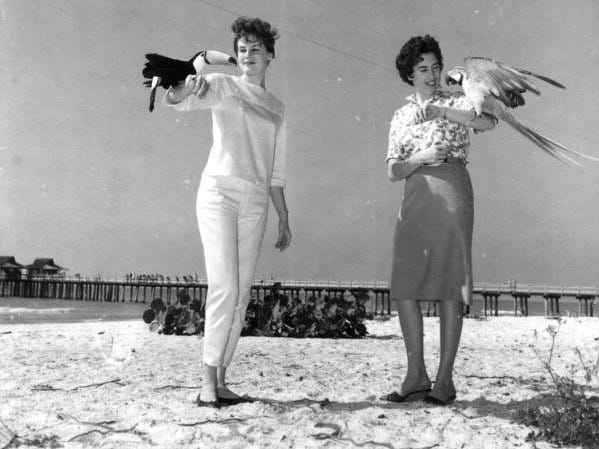 Young women hold rare birds from Caribbean Gardens in 1963. The Naples Zoo is celebrating its 50th year as a zoo and 100th year as a botanical garden.