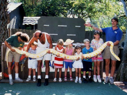 Visitors hold a python at Jungle Larry's African Safari at the Caribbean Gardens in this undated photo. The Naples Zoo is celebrating its 50th year as a zoo and 100th year as a botanical garden.