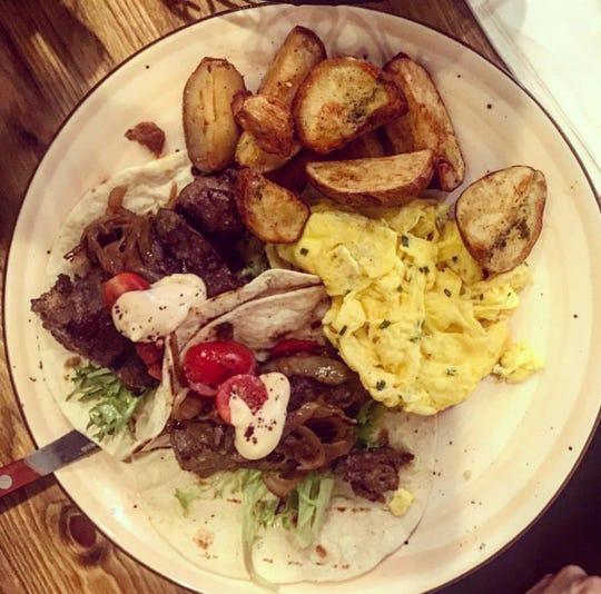 Steak & egg tacos at MishMish in Montclair