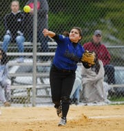 Passaic County Technical Institute vs. DePaul in the Passaic County Softball Tournament semifinals in West Milford on Thursday, May 9, 2019. PCTI #11 Jessica Gonzalez throws to first to get the out.
