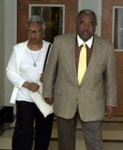 Maxine and Chris McNair arrive at the Jefferson County Courthouse in Birmingham, Ala., Tuesday, May 1, 2001. Their daughter Denise was one of four black girls killed in the 1963 bombing of the Sixteenth Street Baptist Church. Chris McNair has died at age 93. His family confirmed his death Wednesday, May 8, 2019 in a statement.
