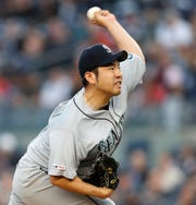 Seattle Mariners starting pitcher Yusei Kikuchi delivers during the fourth inning of a baseball game against the New York Yankees, Wednesday, May 8, 2019, in New York.