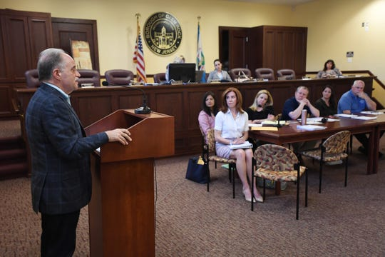 Rinaldo D'Argenio, of Glen Rock, speaks to the Mayor and Council in defense of Columbus Day on Wednesday, May 8, 2019.