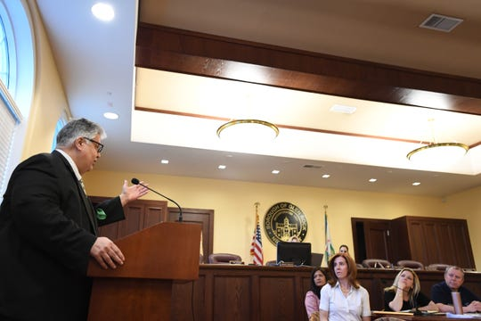 Andre' DiMino, Executive Board Member of the Italian America One Voice Coalition, speaks to the Mayor and Council in defense of Columbus Day on Wednesday, May 8, 2019.