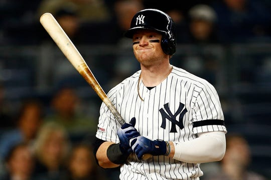 May 8, 2019; Bronx, NY, USA; New York Yankees left fielder Clint Frazier (77) reacts after striking out against the Seattle Mariners during the sixth inning at Yankee Stadium.