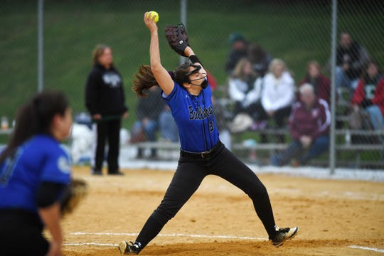 Passaic County Technical Institute vs. DePaul in the Passaic County Softball Tournament semifinals in West Milford on Thursday, May 9, 2019. PCTI pitcher #33 Kate Juskiewicz.