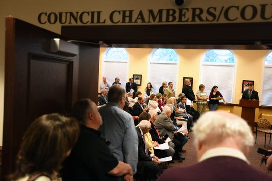 A crowd looks on during a meeting in which the Glen Rock Mayor and Council hear members of the Italian America One Voice Coalition speak in defense of Columbus Day on Wednesday, May 8, 2019.