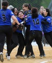 Passaic County Technical Institute vs. DePaul in the Passaic County Softball Tournament semifinals in West Milford on Thursday, May 9, 2019. PCTI celebrates defeating DePaul.