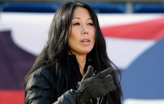FILE - In this Dec. 23, 2018, file photo, Buffalo Bills co-owner Kim Pegula. On Wednesday, May 8, 2019, a person with direct knowledge of the decision tells The Associated Press that Kim Pegula, also owner of the Buffalo Beauts, has given up control of the National Women's Hockey League franchise.