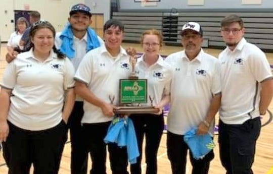 The Deming High School student athletic trainers captured the third-place trophy and the New Mexico Athletic Training Challenge on April 29 in Albuquerque. The team is, from left, athletic trainer and instructor Jessica Leupold, Oscar Arroyos, Jacob Mendoza, Shaelynn Plasters, assistant trainer Tony Valdespino and Tyler Wycoff.