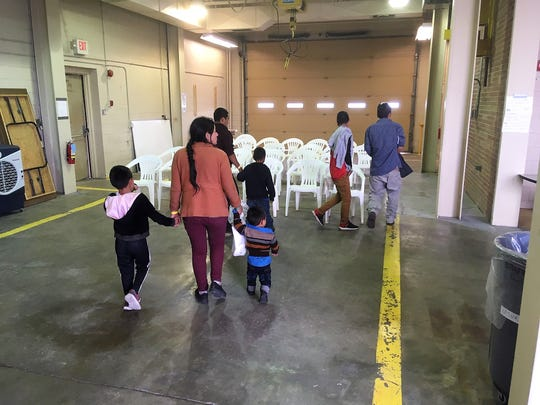 The city of Las Cruces provided this photograph of asylum seekers arriving at the former U.S. Army Reserve Center on Brown Road after being released from U.S. Border Patrol custody on Wednesday, May 8, 2019.