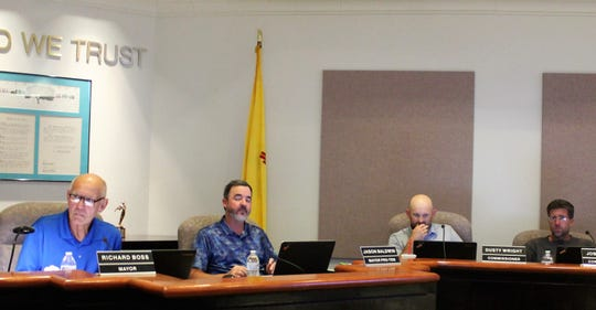 The Alamogordo City Commission heard the proposed fiscal year 20202 budget on May 7. From left: Alamogordo Mayor Richard Boss, Mayor Pro Tem Jason Baldwin, City Commissioner Dusty Wright and City Commissioner Josh Rardin.