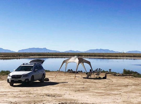 This Oct. 27, 2018 image provided by Joshua Hernandez shows his campsite along the shoreline of Lake Holloman on Holloman Air Force Base, N.M. The New Mexico attorney general's office on Thursday, May 9, 2019, requested that the U.S. Air Force close the lake to the public after sampling turned up high levels of hazardous chemicals known as per- and polyfluorinated compounds, or PFAS.