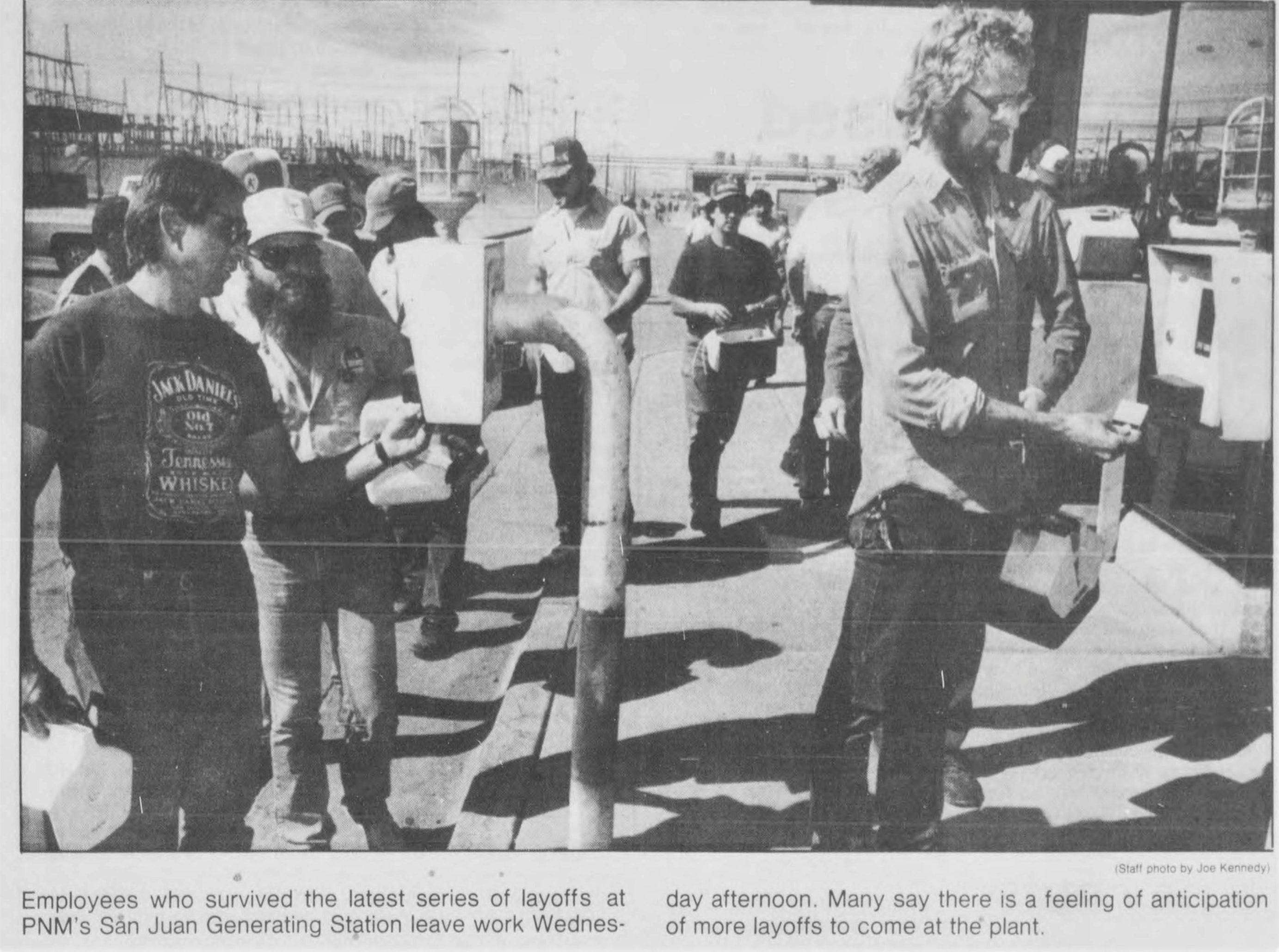 Employees check into work in 1988 at the San Juan Generating Station.