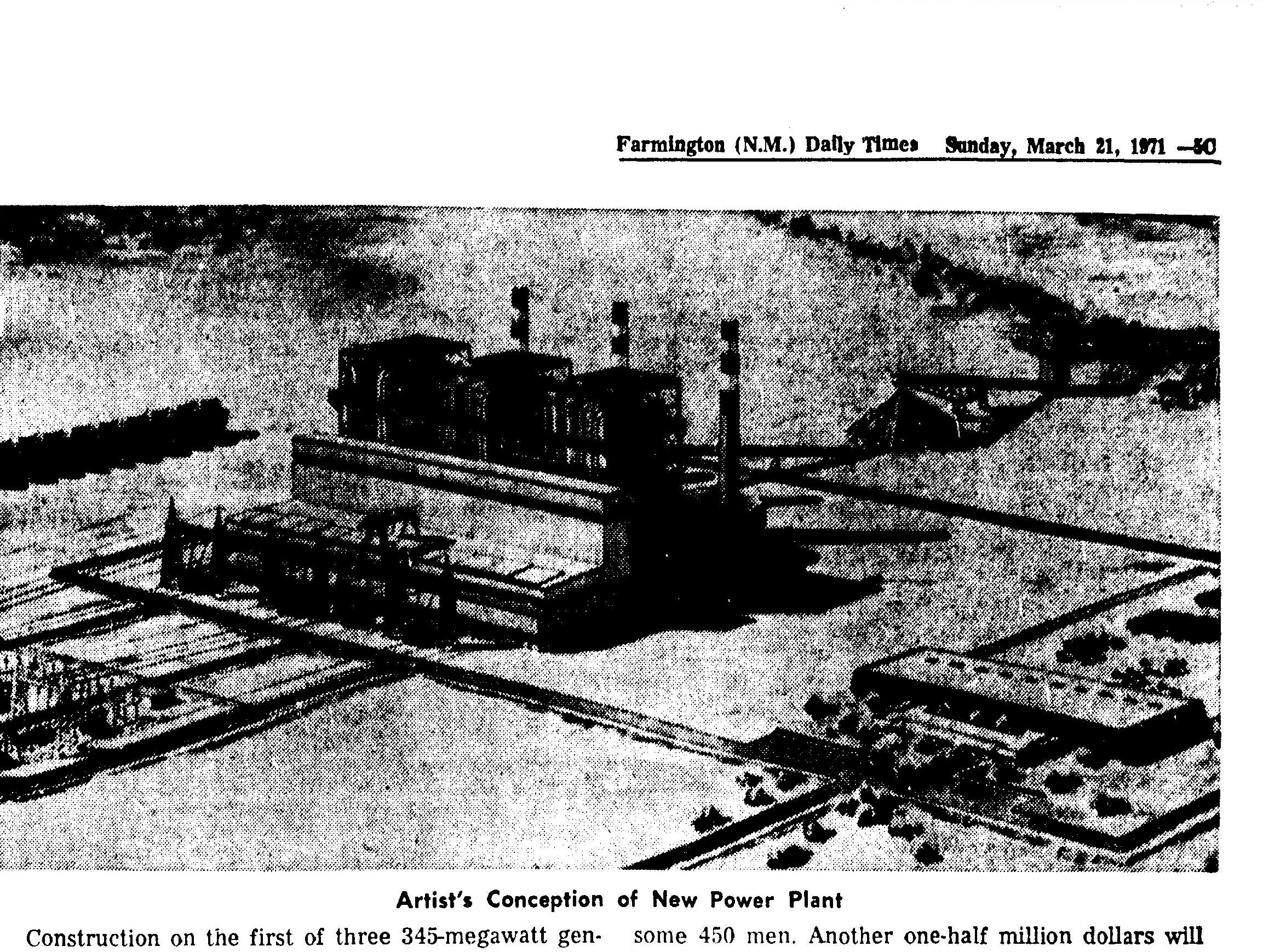 An artistic rendering from 1971 shows the designs for the San Juan Generating Station.