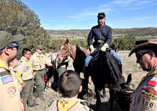 Troop 180 met Matt Midgett and his horses at the Fort Stanton Cemetery.